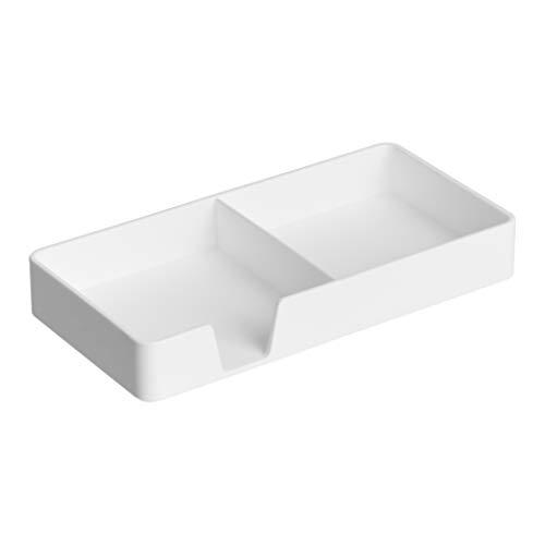Amazon Basics Organizador de plástico, bandeja pequeña, blanco
