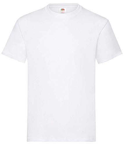 Fruit of the Loom Valueweight Tee, 5 Pack Maglietta, Bianco (White), L Uomo
