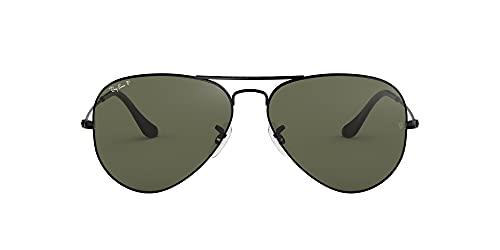 Ray-Ban Unisex Aviator Large Metal Sonnenbrille, Schwarz (Gelstell: Schwarz, Gläser: Polarized Grün Klassisch 002/58), X (Herstellergröße: 62)