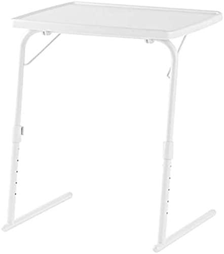 VTAMIN Escritorio portátil, Escritorio para portátiles pequeño, Mesa Plegable cómoda con 6 ajustes de Altura, para Mesa de Escritorio de sofá, Blanco