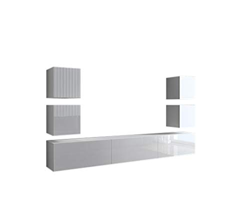 Home Direct Future 35 Weiß Modernes Wohnzimmer Wohnwand Wohnschrank Schrankwand Möbel Mediawand (C35/HG/W2 1B (groß))