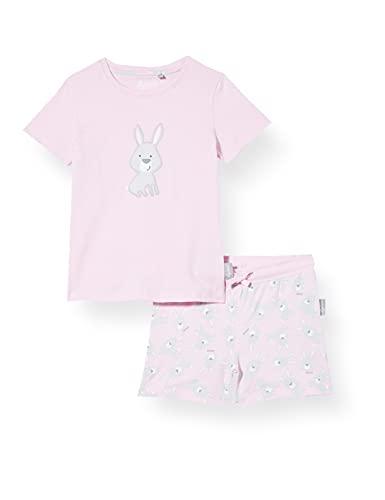Sigikid Mädchen Mini Nightwear, 2-teiliger Pyjama aus Bio-Baumwolle für Kinder Pyjamaset, Rosa/Hasen/kurz, 98