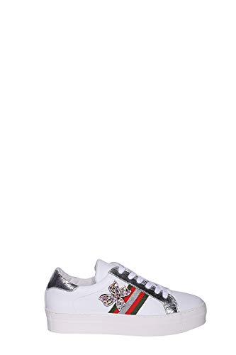 MELINE Sneaker aus Leder mit Metallic-Finish, seitliches Band mit drei Farben mit Schleife, Schmuck und Para Alta Platform, - 540 - Größe: 37 EU