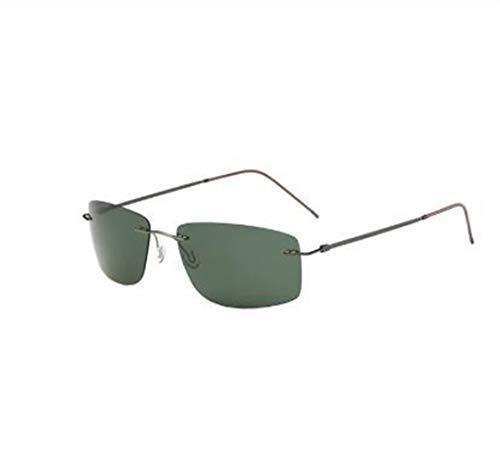 マトリックス・スタイル偏光ドライビングサングラス男性のチタンメモリーフレームリムレス光サングラスミラーレンズ (Lenses Color : Green)