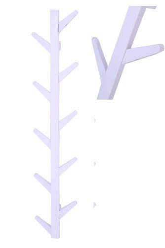 Wandkapstok boomstam tak design - hangende muurkapstok - 125 cm hoog - 10 haken - wit