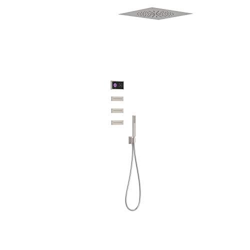 Kit electrónico de ducha termostático empotrado Shower Technology, 3 vías, rociador ducha inox a techo, 50 x 50 x 37,9 centímetros, color acero (Referencia: 09288312AC)
