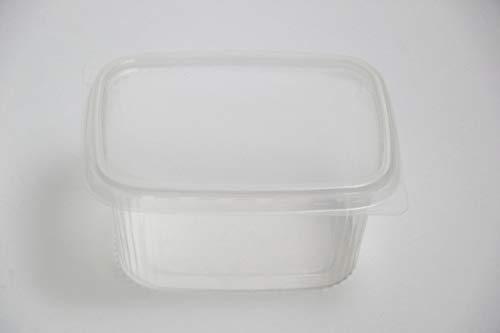 BAMI Verpackungsbecher 250g, 250ml 108x82x47mm, ECKIG- PP-Transparent, Feinkostbecher, Salatbecher, Salatschale - Kombi mit Deckel - (250 Becher + 250 Deckel)