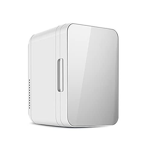 Mini-Frigorífico doméstico de Uso montado vehículo de 8 litros frigorífico Compacto para Dormitorio pequeño frigorífico pequeño para calefacción y refrigeración,Silver,28.8 * 26.5 * 19.2