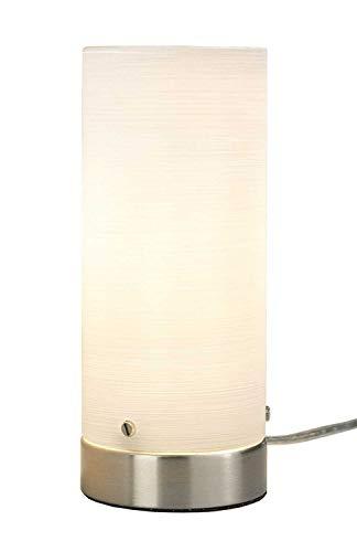 LED Nachttischlampe Tischleuchte Tischlampe | Metall | Glas | Nickelfarben | Weiß | Touchfunktion