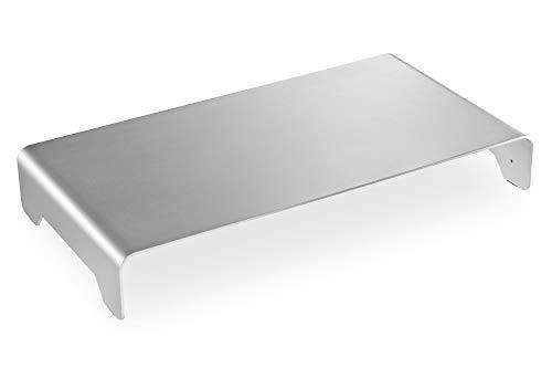 DIGITUS Designer Monitor-Erhöhung aus Aluminium - Bildschirm-Ständer - Traglast 10 kg - Nicht Rutschend - Silber