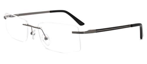 CARMIM Männer Frauen Randloses Metall Leichtgewicht bequeme optische Rahmen (grau/schwarze Farbe) klare Linse