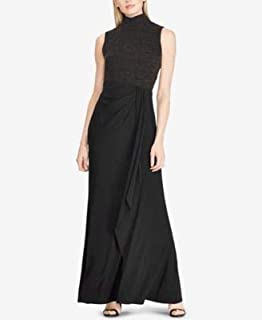 RALPH LAUREN Womens Black Sleeveless Turtle Neck Maxi Evening Dress US Size: 14