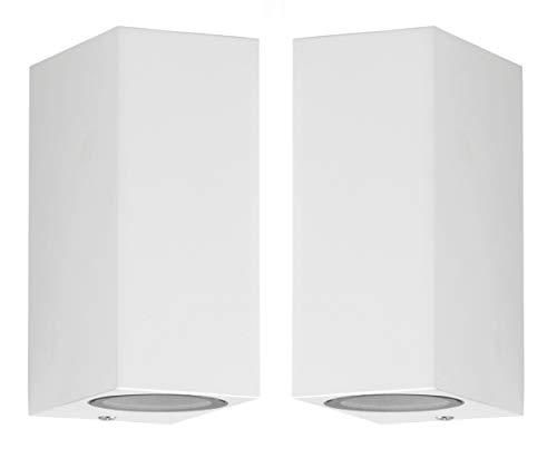 Trango 2er Pack IP44 Up & Down Light in Eckig Wandleuchte Wandstrahler TG8011-SW2 aus Alu in weiß geeignet für 2x GU10 LED Leuchtmittel Außenlampe Außenstrahler