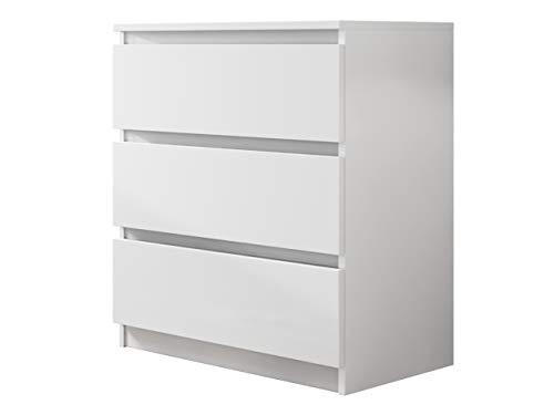 Kommode mit 3 Schubladen Malwa M3, Anrichte, Diele, Flur, Highboard, Mehrzweckschrank, Sideboard, Wohnzimmer, Esszimmer (Weiß)