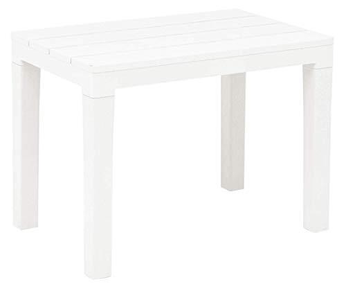Panca, Tavolino d'appoggio rettangolare in plastica effetto legno (bianco)