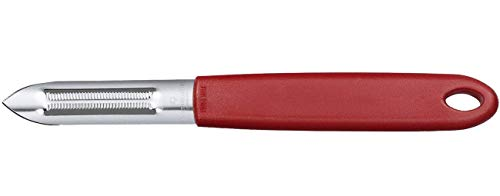 Victorinox Universalschäler mit Zackenschliffklinge, Zweischneidig, Rostfrei, Edelstahl, Spülmaschinengeeignet, rot