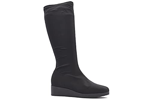 Bota Alta Tacón Bloque - Botas Mujer de Antelina Elástica - Estilo Casual - Zapato Cómodo (Negro, numeric_40)