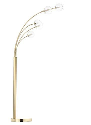 Modernluci Stehlampe 5 flammig Bogenlampe Arc LED Stehleuchte Glas Kugel Bogenleuchte Standleuchte, mit Marmorfuß und Fußschalter, inklusive LED 5x 3,5 W, Höhe 201 cm, Messing