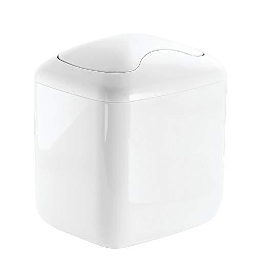 mDesign Mülleimer Bad aus beständigem Kunststoff - hochwertiger Abfalleimer Küche - Design Papierkorb - weiß