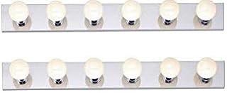 Dysmio Lighting Six Light Vanity Strip, Polished Chrome, 36-Inch 2 Pack