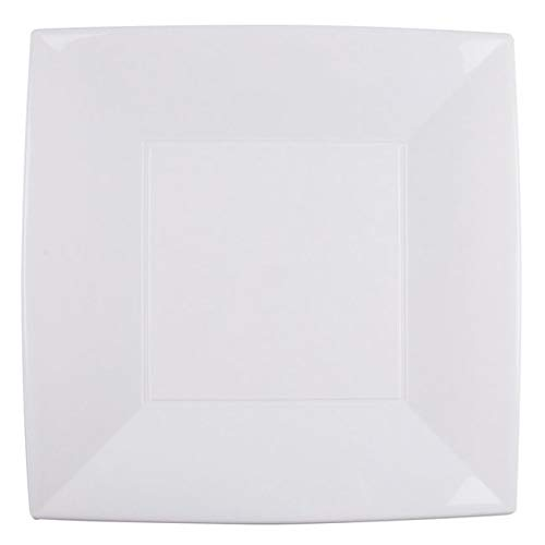 Chal - 8 Grandes Assiettes carrées 30 cm Blanches PVC Rigide