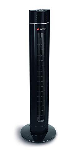 alpina Ventilador de torre oscilante con mando a distancia – Ventilador de columna – Ventilador de pie de 106,8 cm – Giratorio – Ventilador con 3 velocidades y temporizador – Negro