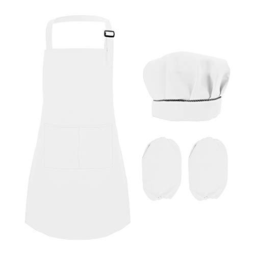 YUENA CARE Juego de Delantales para Niños Niñas Delantal con Gorro de Cocinero y Manguitos Juego de Chef Aprende a Cocinar Blanco