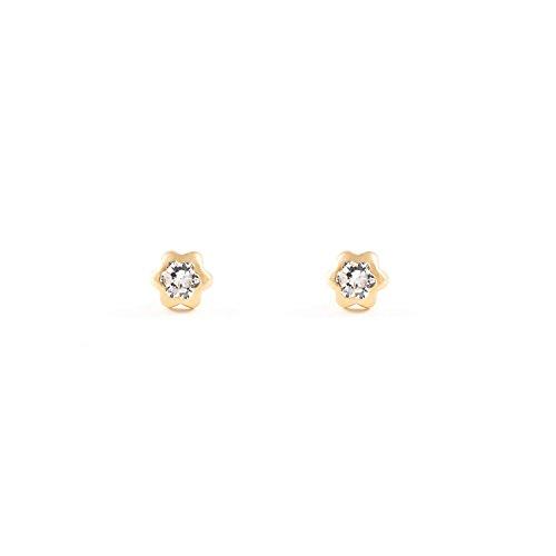 Monde Petit T1662P -Orecchini per bambini, oro giallo 18k (750)