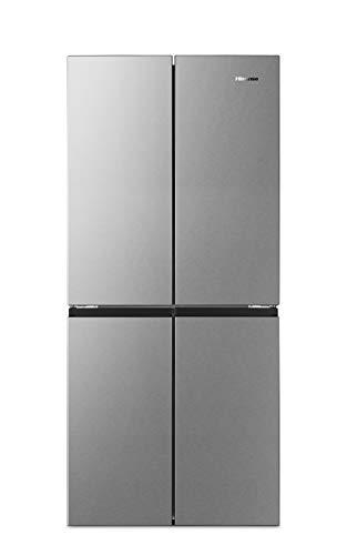 Hisense RQ563N4SI2 Cross Door Kühl-Gefrierkombination/ NoFrostPlus/ Inverter-Kompressor/ HolidayMode/ SuperCool/ 181 cm/ Kühlteil 294 l/ Gefrierteil 160 l/ 40 dB/ 279 kWh/Jahr/ Inox-Look