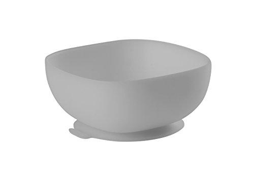 BÉABA, Bol Ventouse pour Enfant, 100% silicone, matière douce et très resistante, Adhère table/tablette chaise haute, Languette permettant de soulever l'assiette, Compatible micro-onde, Gris