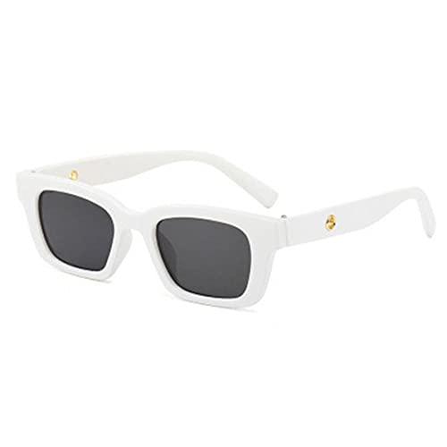 ACEHE Gafas de Sol, Gafas de Sol Vintage rectangulares para Mujer, Gafas de Sol Puntiagudas Retro, Gafas de Mujer para Mujer, Ojo de Gato, Gafas de conducción (Blanco + Negro Gris)
