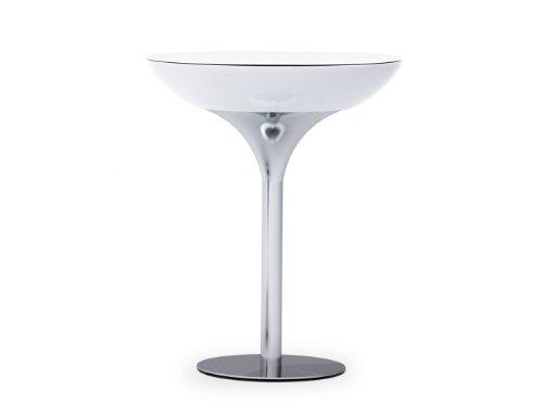 Moree Lounge Stehtisch beleuchtet, Ø 84 cm, H 105 cm, ABS glänzend, inkl. Glasplatte, weiß transluzent, Aluminium gebürstet, eloxiert, für 1x max. 42 W E27, für Außen, Edition Howe-Deko