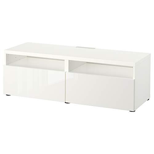 BEST<b Ławka TV z szufladami 120 x 42 x 39 cm biała/Selsviken wysoki połysk/biała