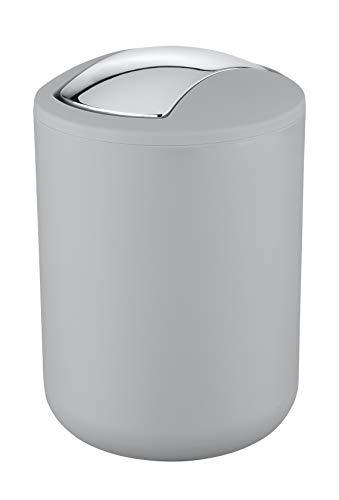 WENKO Kosmetikeimer Brasil Grau S - Kosmetikeimer, absolut bruchsicher Fassungsvermögen: 2 l, Kunststoff (TPE), 14 x 21 x 14 cm, Grau