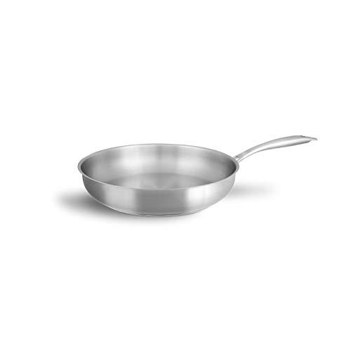 Sartén Acero Inoxidable sin Tapa de 28 cm – Sartenes Inducción con Mango Ergonómico – Sartenes Inducción Antiadherentes - Para Todo Tipo de Cocinas Incluidas las de Inducción