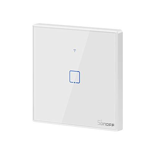 SONOFF T2EU1C Interruptor Mural para Control de Luces Inalámbrico por RF Wi-Fi Inteligente, Interruptor de Tipo 86 de 1 Canal para Soluciones de Automatización Domótica(1-Way)