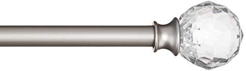 AmazonBasics - Bastone per tende, 1,6 cm, con elementi decorativi a forma di palla sfaccettata, 71 cm, Trasparente