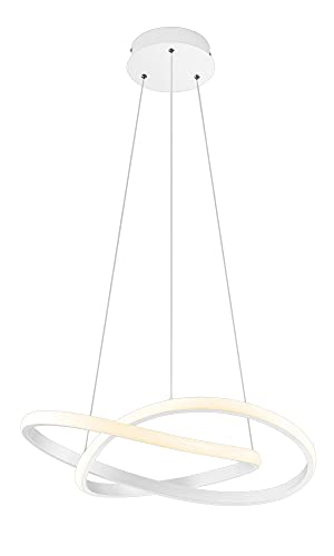 Reality Lampadario Sospensione Cerchio Infinito Led Bianco Striscia Led Innovativa Elegante Adatta a Qualsiasi Ambiente della Casa Uffici Negozi Ristoranti con 3 Livelli d'Intensità 60 CM