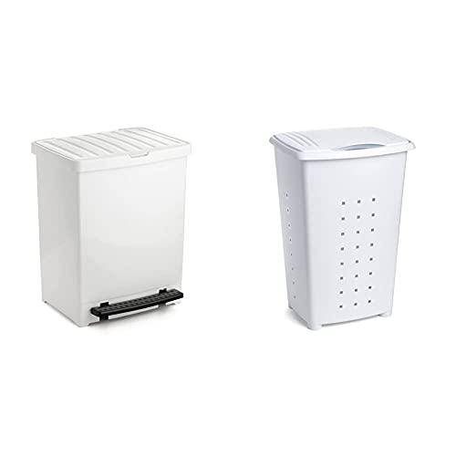 Tatay Cubo de Pedal, 25L de Capacidad, Pedal Retráctil + Millenium Cesto para Ropa Sucia con Tapa 60 l de Capacidad plástico Polipropileno, Blanco, 43 x 35,5 x 64 cm