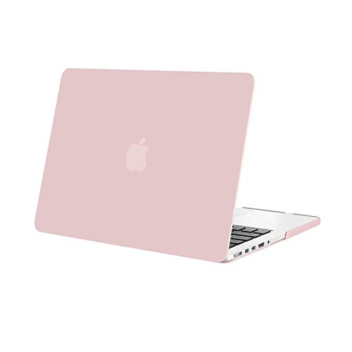 MOSISO Plastic Hard Shell Snap On Case Cover Only Compatible with Older Version MacBook Pro Retina 13 Inch (Model: A1502 & A1425) (Release 2015 - end 2012), Rose quartz (Baby Pink)