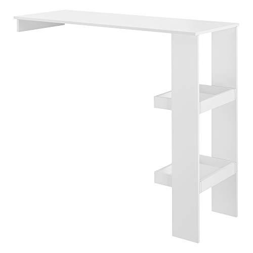 [en.casa] Mesa de Bar Sölvesborg Mesa de Bistro Elegante 120 x 45 x 106 cm Mesa Alta de Cocina con 2 Estantes Integrados Blanco