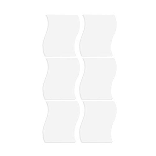 VORCOOL 6 piezas ondas espejo superficie pared decoración de pared 3D espejo moderno pegatinas DIY pared pared decoración hogar – Tamaño S (plata)