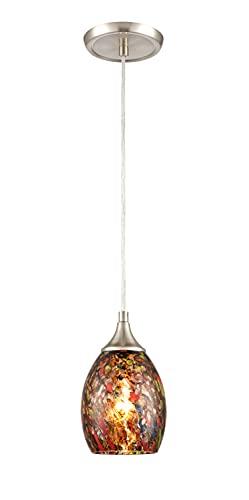 Glassland 1 Light Mini Pendant Light in Satin Nickel with Colored Glass
