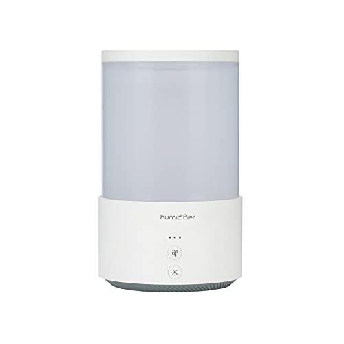 BANYANU Humidificador, Nano Doble Spray Suministro De Agua, 650 ML Silencio Carga USB Protección contra Cortes De Energía Escritorio Color Luz Ambiental Atomizador por Cuarto Oficina,Blanco
