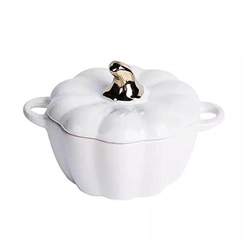 Mabor Cuenco de cerámica para calabaza, azón, azucarero, cerámica, con tapa para cocina, forma de calabaza con tapa, recipiente para preservar el calor y antiquemaduras, apto para horno microondas