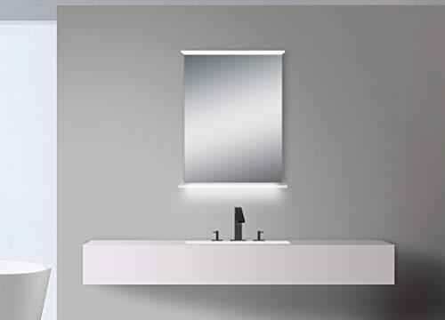 Badspiegel mit Beleuchtung Talos Emporio - Badezimmerspiegel in 52 x 70 cm - Badspiegel mit beleuchteter Glasablage