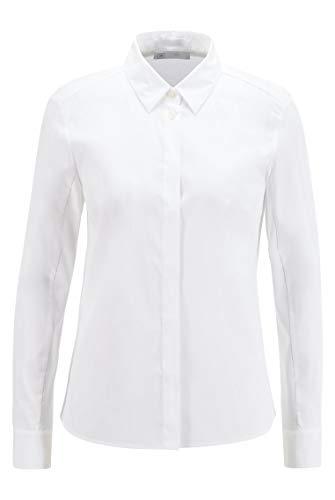 BOSS Damen Bavel Slim-Fit Bluse aus Stretch-Gewebe mit Jersey-Rückseite
