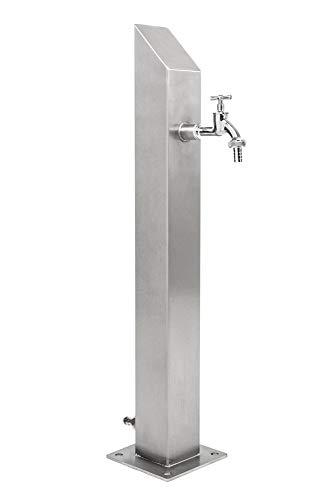 KTC Tec Wassersäule Edelstahl V2A Garten Brunnen Zapfsäule Wasserzapfsäule Wasserverteiler Zapfstelle SQS-1030