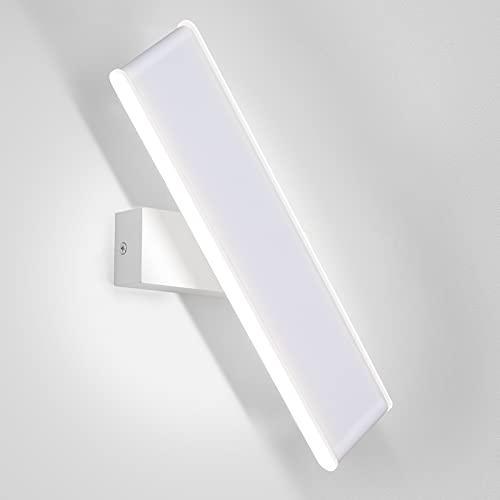 ENCOFT 12W LED Lampada da Parete Girevole 330° Interno, Applique da Parete Muro Girevole in Alluminio, Illuminazione Luce Bianco Freddo 6000K per Camera da Letto Soggiorno, 31cm Bianco