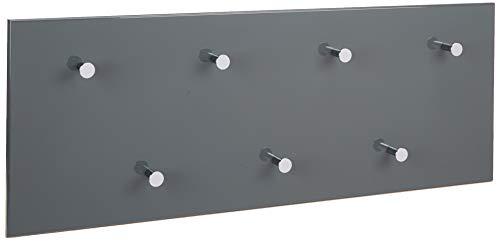 HAKU Möbel 42190 Wandgarderobe 80 x 5,5 x 30 cm, grau / chrom / nickel